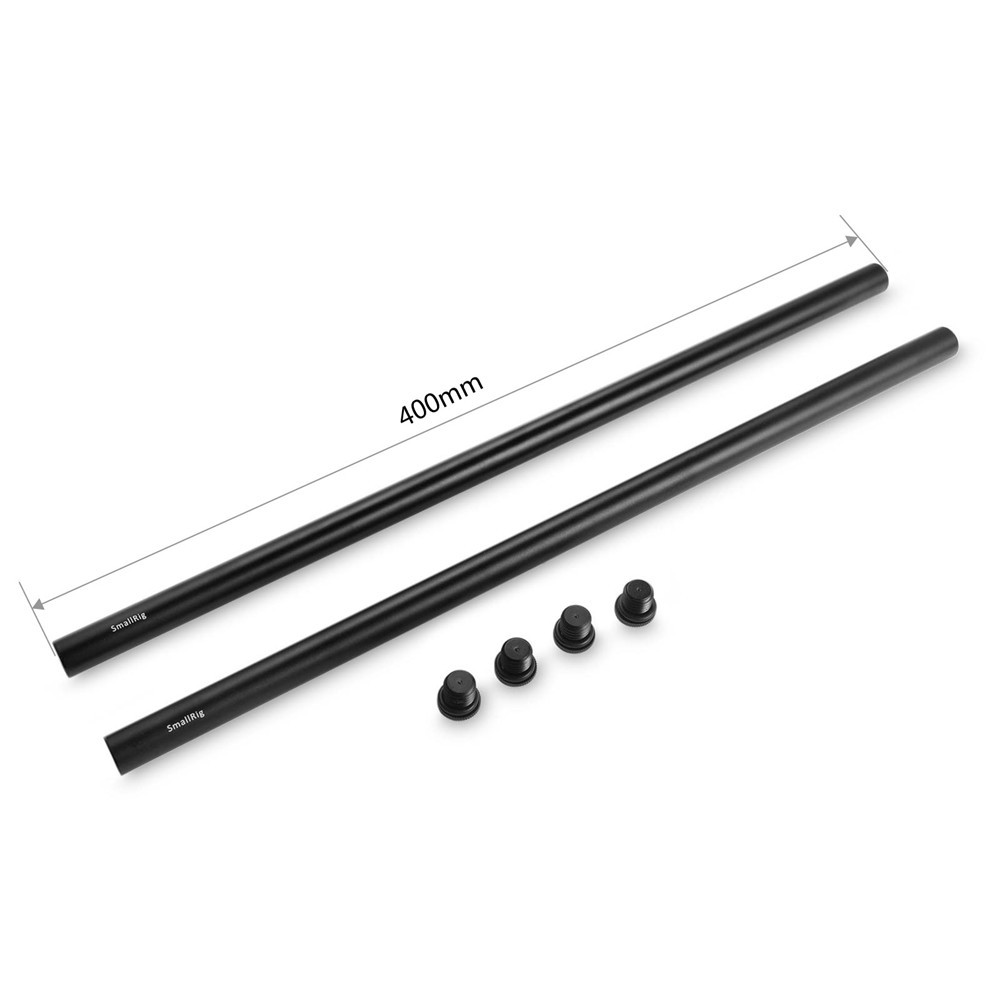 SmallRig 2pcs 15mm Black Aluminum Alloy Rod(M12-40cm) 16inch 1054