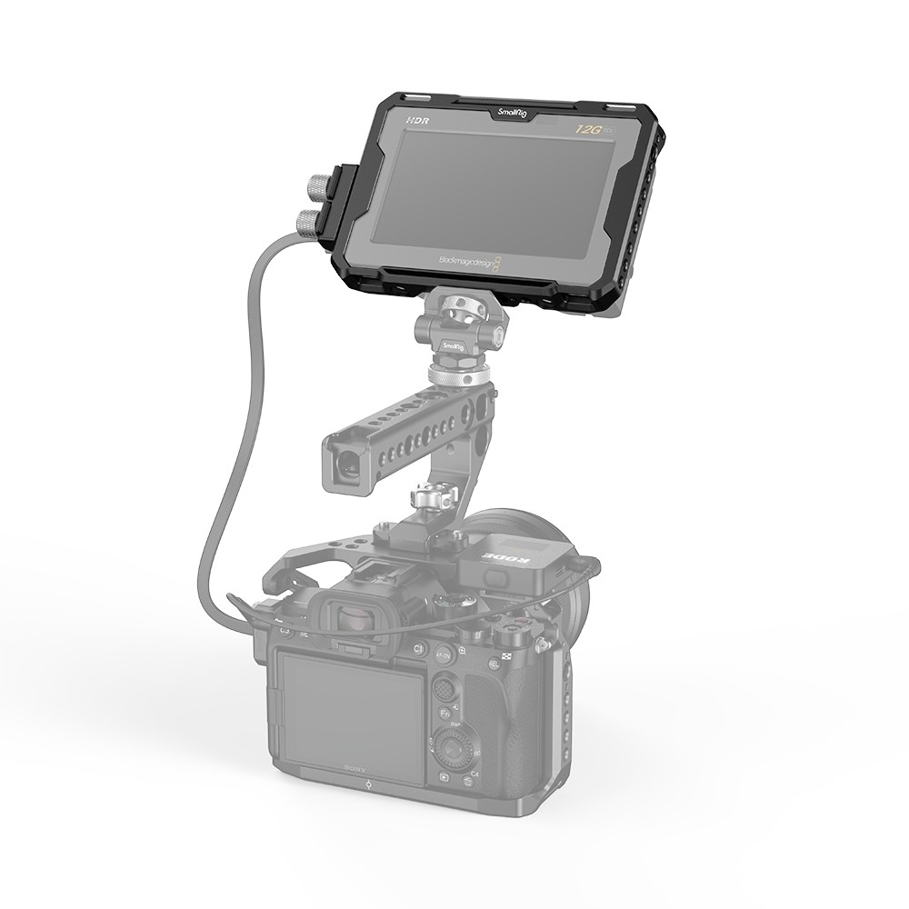 """SmallRig Cage with Sun Hood and HDMI Clamp for Blackmagic Design Video Assist 5"""" 12G-SDI/HDMI 2725B"""